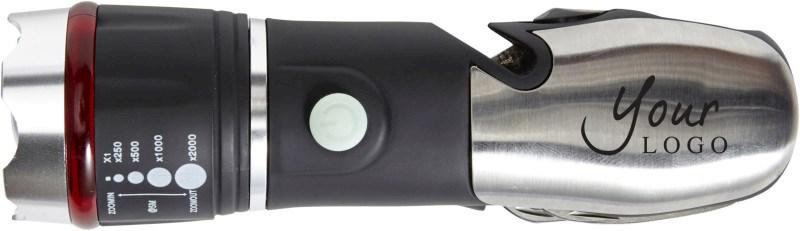 Multifunktionstaschenlampe 'Emergency' aus ABS-Kunststoff/Edelstahl/Silikon
