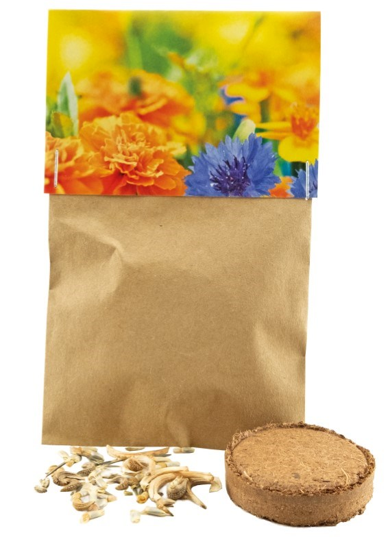 Naturtütchen essbare Blüten, Kornblume, Ringelblume, Gewürz-Tagetes, inkl. 1-4 c Digitaldruck