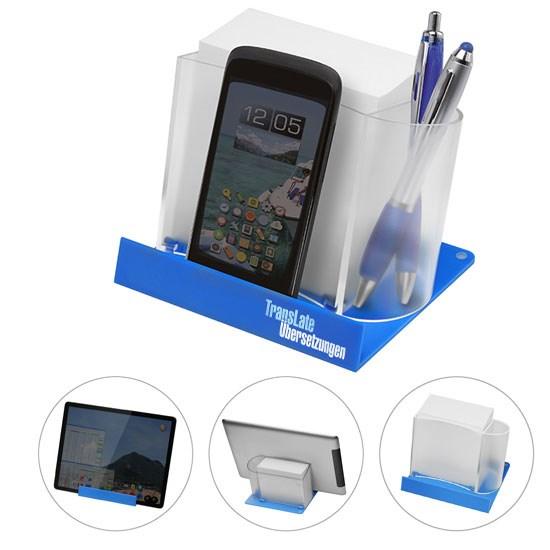 Smartphone-/Tabletständer mit Zettelbox