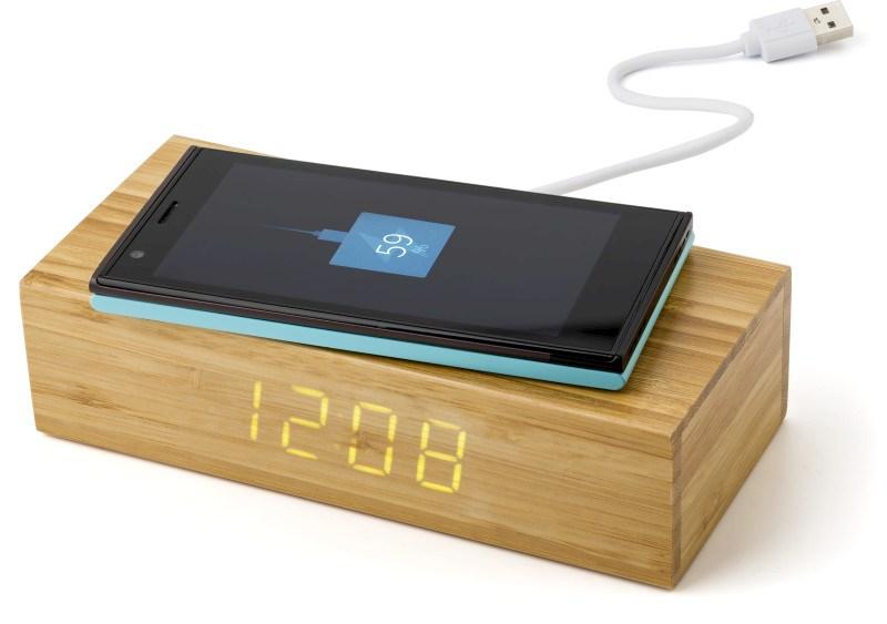 Wireless Ladepad aus Bambus mit Uhr