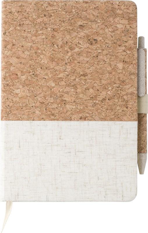 Cork-Line Notizbuch aus Kork und Leinen und Kugelschreiber aus Weizenstroh