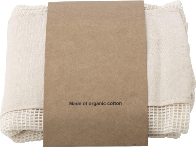 Set aus drei wiederverwendbaren Taschen aus Baumwollgewebe
