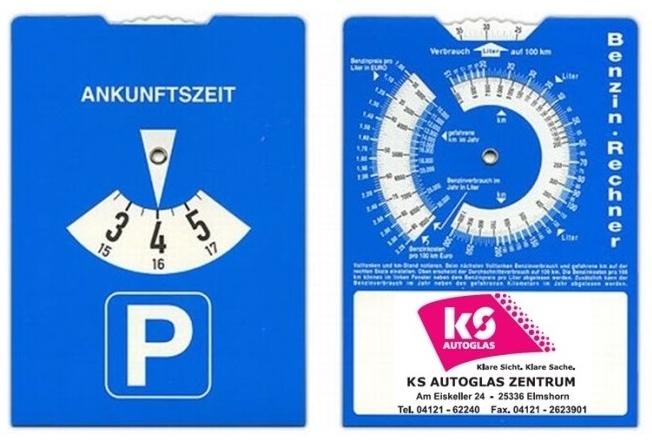 Parkscheibe mit Benzinrechner
