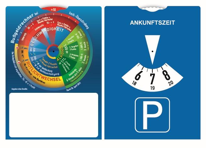 Parkscheibe mit Bußgeldrechner