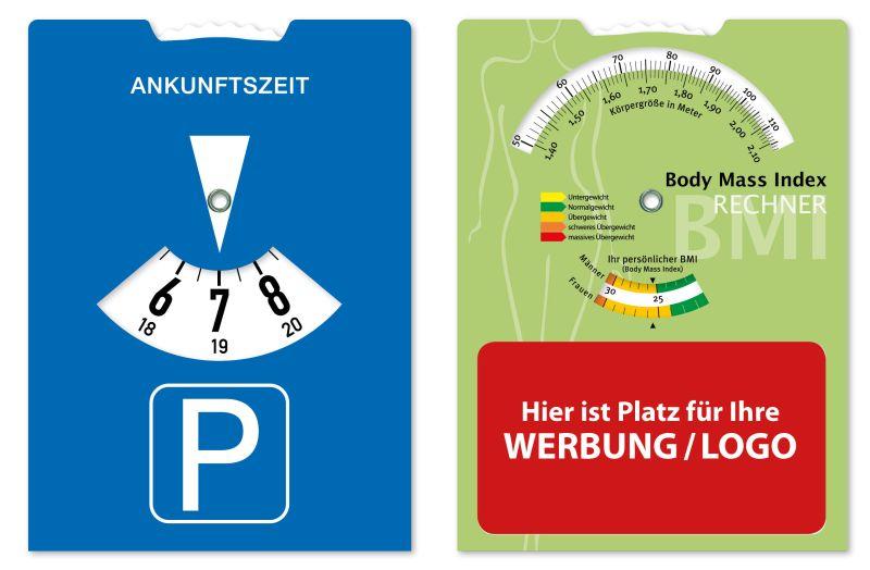 Parkscheibe mit Body Mass Index