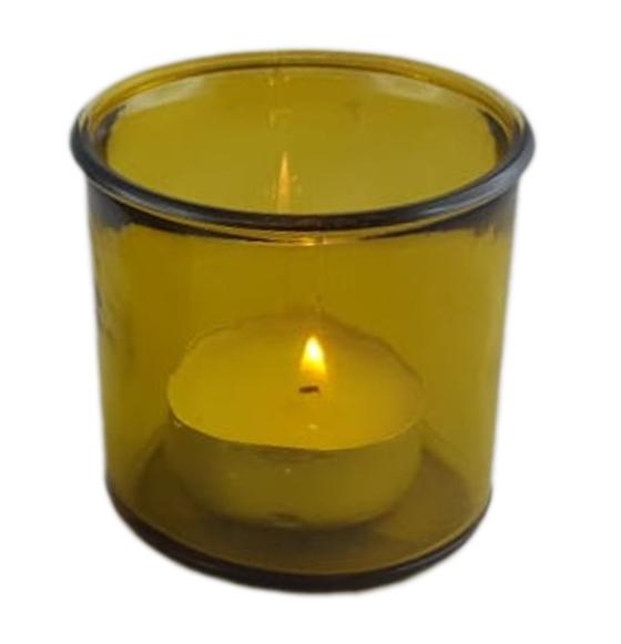 Windlicht aus Glas Farbe gelb transparent