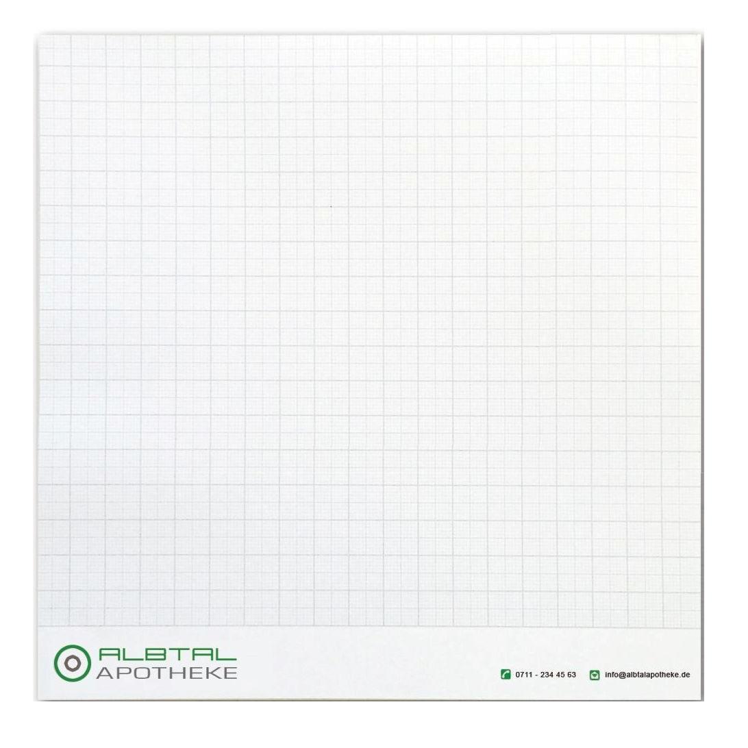 Notizblock 20 x 20 cm, 35 Blatt inklusive einfarbigem Druck