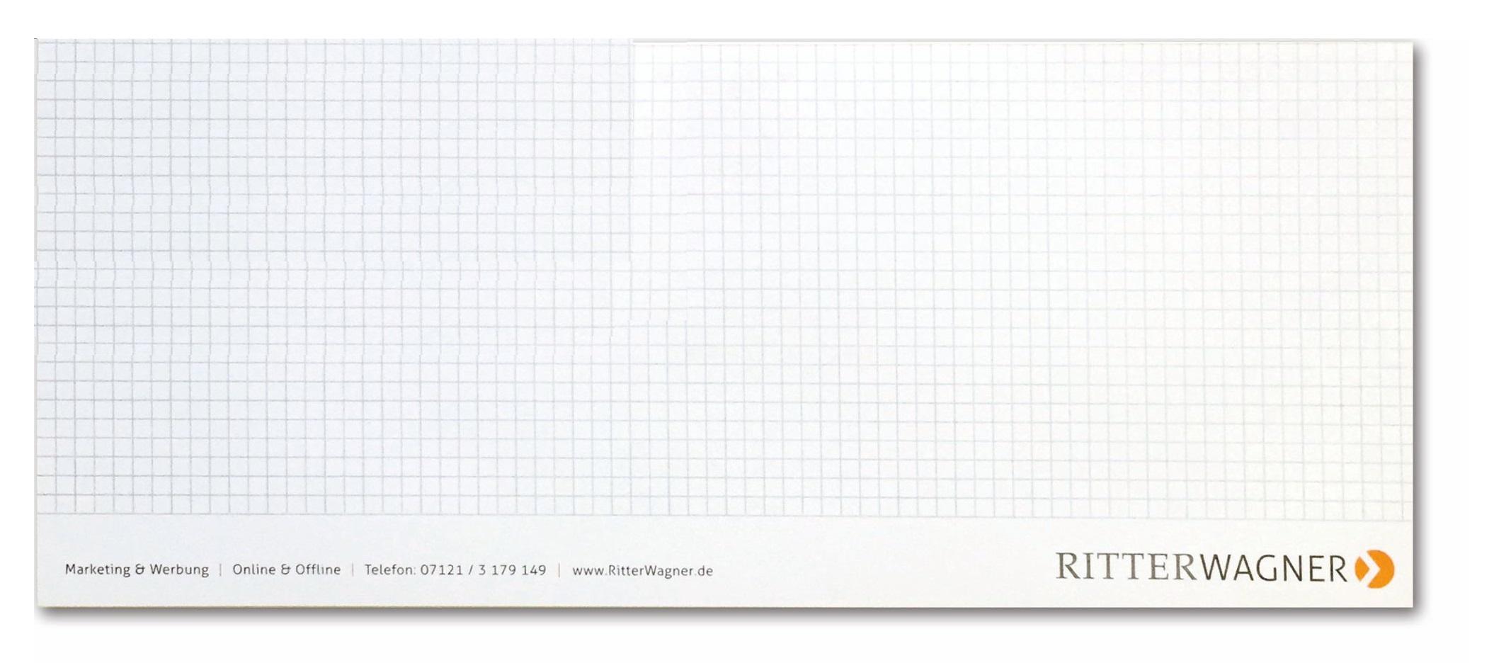 Notizblock 13,5 x 30 cm, 35 Blatt inklusive einfarbigem Druck