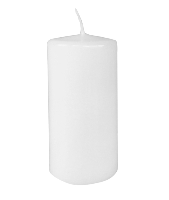 Stumpenkerze Farbe Weiss  Höhe ca. 12 cm - Ø ca. 6 cm