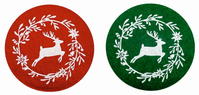 Untersetzer Rentier aus Filz zweifach sortiert in den Farben Rot und Dunkelgrün