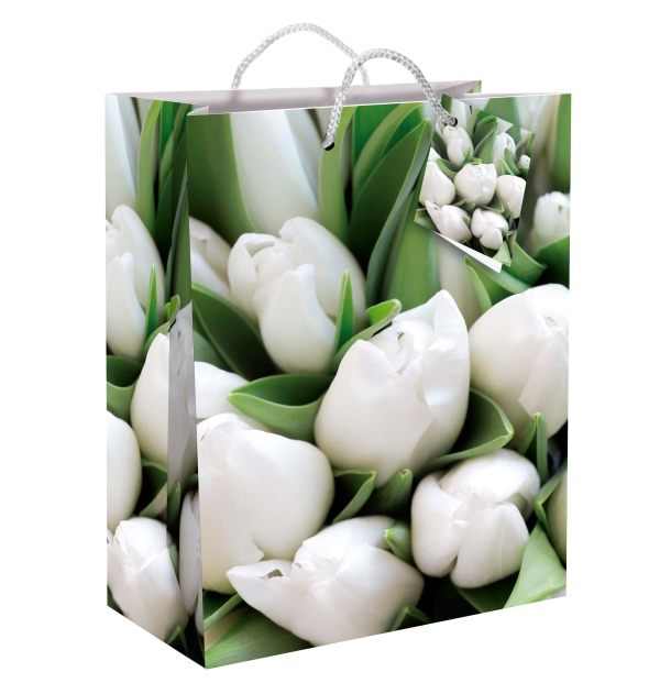 """Mittlere Lacktasche """"Weiße Tulpen"""""""