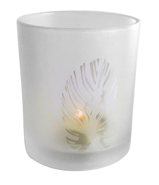 """Windlicht """"Blatt"""" aus Glas"""