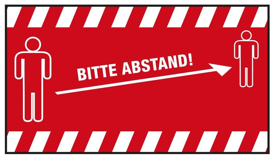 """PREMIUM Schmutzfangmatte """"Bitte Abstand halten"""" Maße 180 x 115 cm, in Rot, Querformat"""