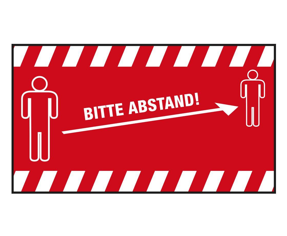 """PREMIUM Schmutzfangmatte """"Bitte Abstand halten"""" Maße 150 x 85 cm, in Rot, Querformat"""