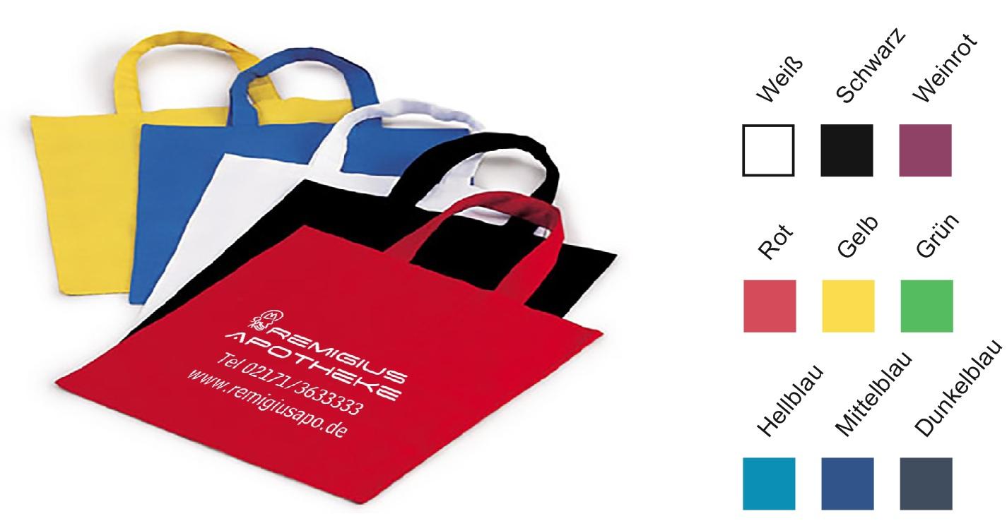 Baumwolltasche farbig 28 x 32 cm mit Logodruck in Fernost