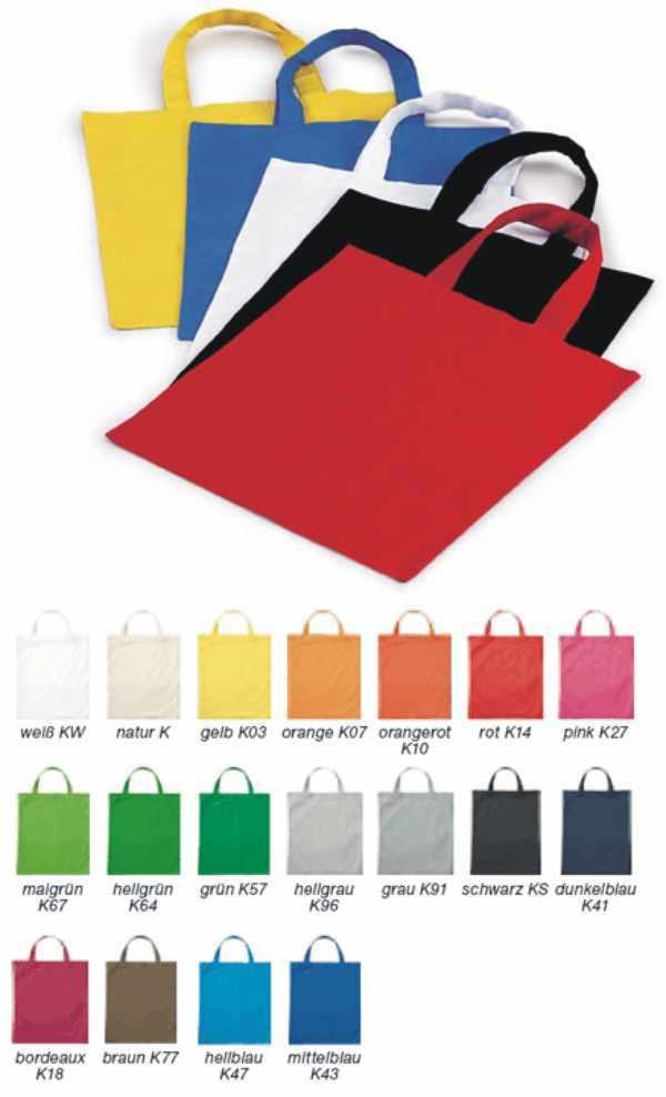 Baumwolltasche farbig 38 x 42 mit Logodruck in Deutschland