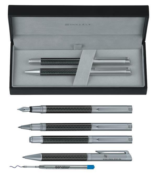 Schreib-Set Senator Carbon-Line Kugelschreiber und Füller, Geschenketui