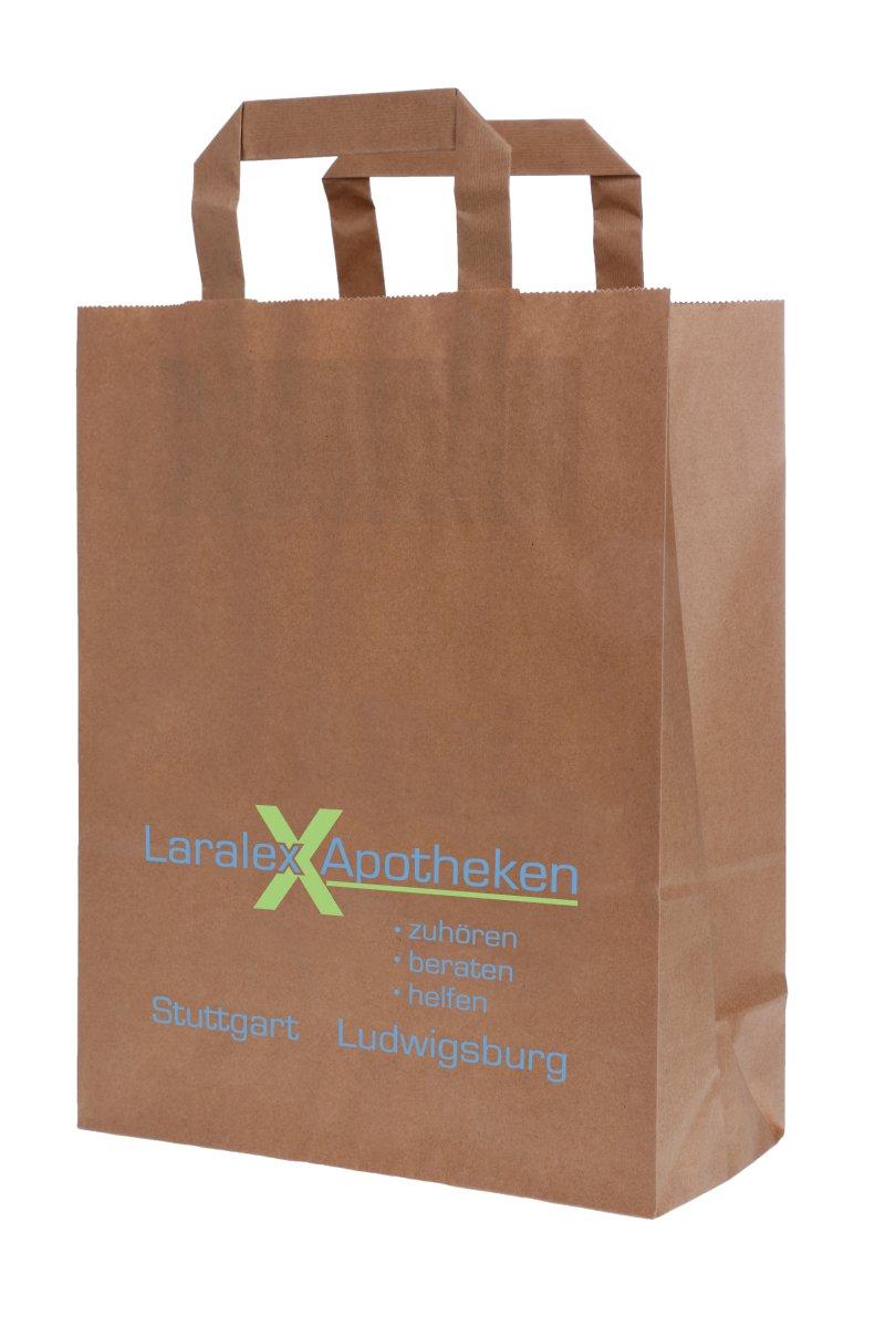 Papiertragetasche braun, 22 x 28 x 10 cm mit Logo