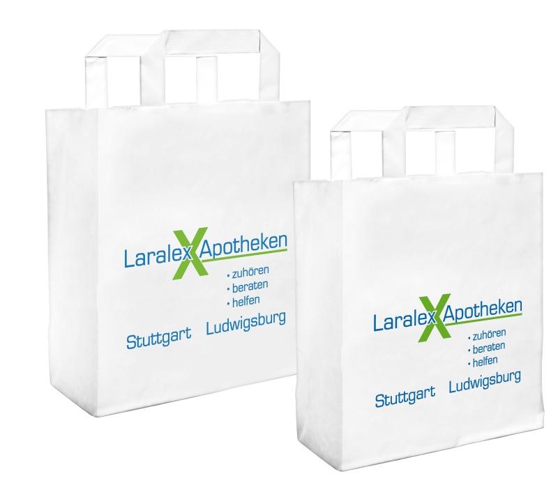Papiertragetasche weiß, 22 x 28  x 10 cm mit Logo