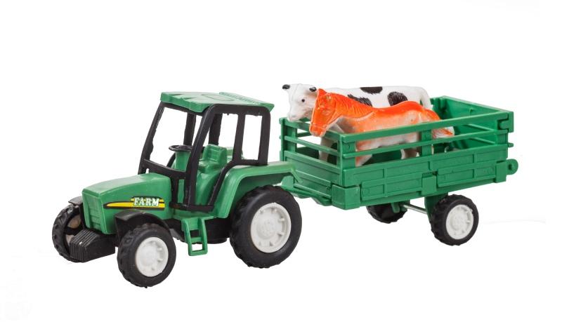Traktor mit Hänger und zwei Tieren
