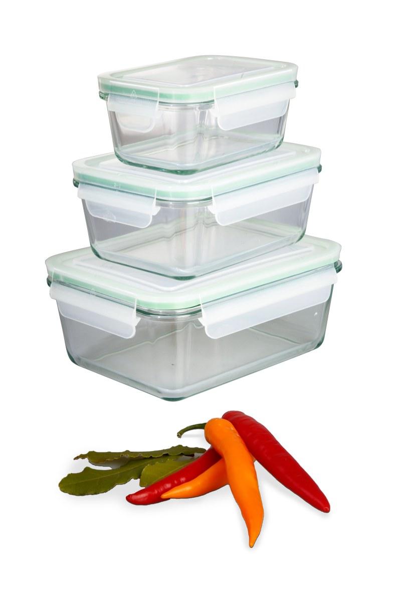 Set aus drei Multifunktionsboxen verschiedene Größen, aus Tempered Glass