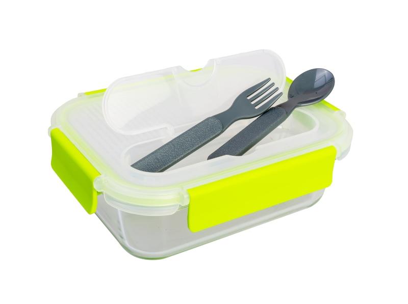 Lunchbox mit Löffel und Gabel, aus Tempered Glass