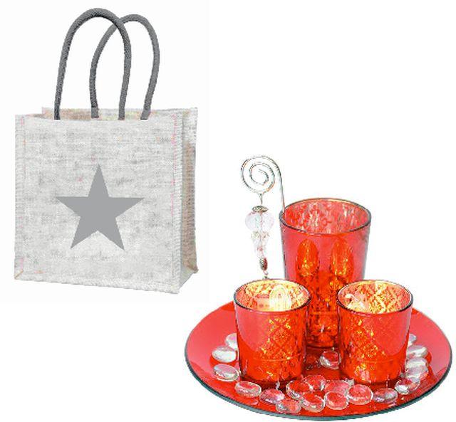 """Geschenkset """"Winterabend"""" mit einem Windlicht-Set und einer Geschenktasche """"Stern"""" aus Jute"""