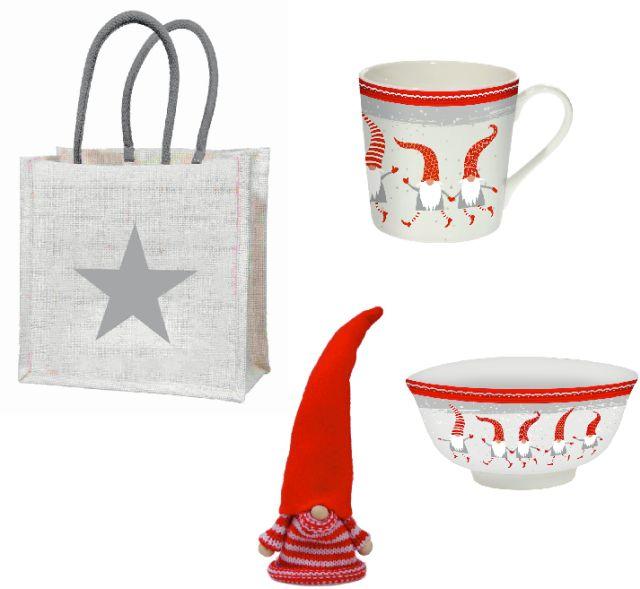 """Geschenkset """"Tallinn"""" mit einer großen Tasse, einer Dessertschale, einem Eierwärmer und einer Geschenktasche """"Stern"""" aus Jute"""