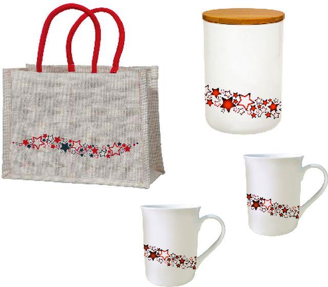 """Geschenkset """"Galaxie"""" mit einer Teedose, zwei Tassen und einer großen Jutetasche"""