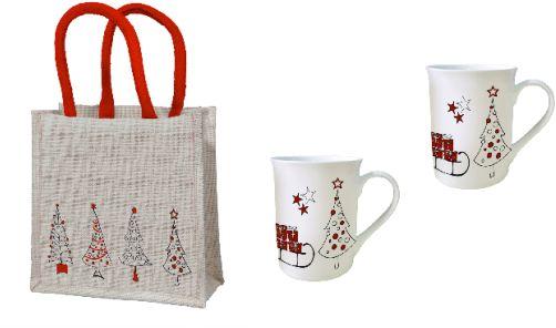 Geschenkset mit zwei Tassen und einer Geschenktasche aus Jute