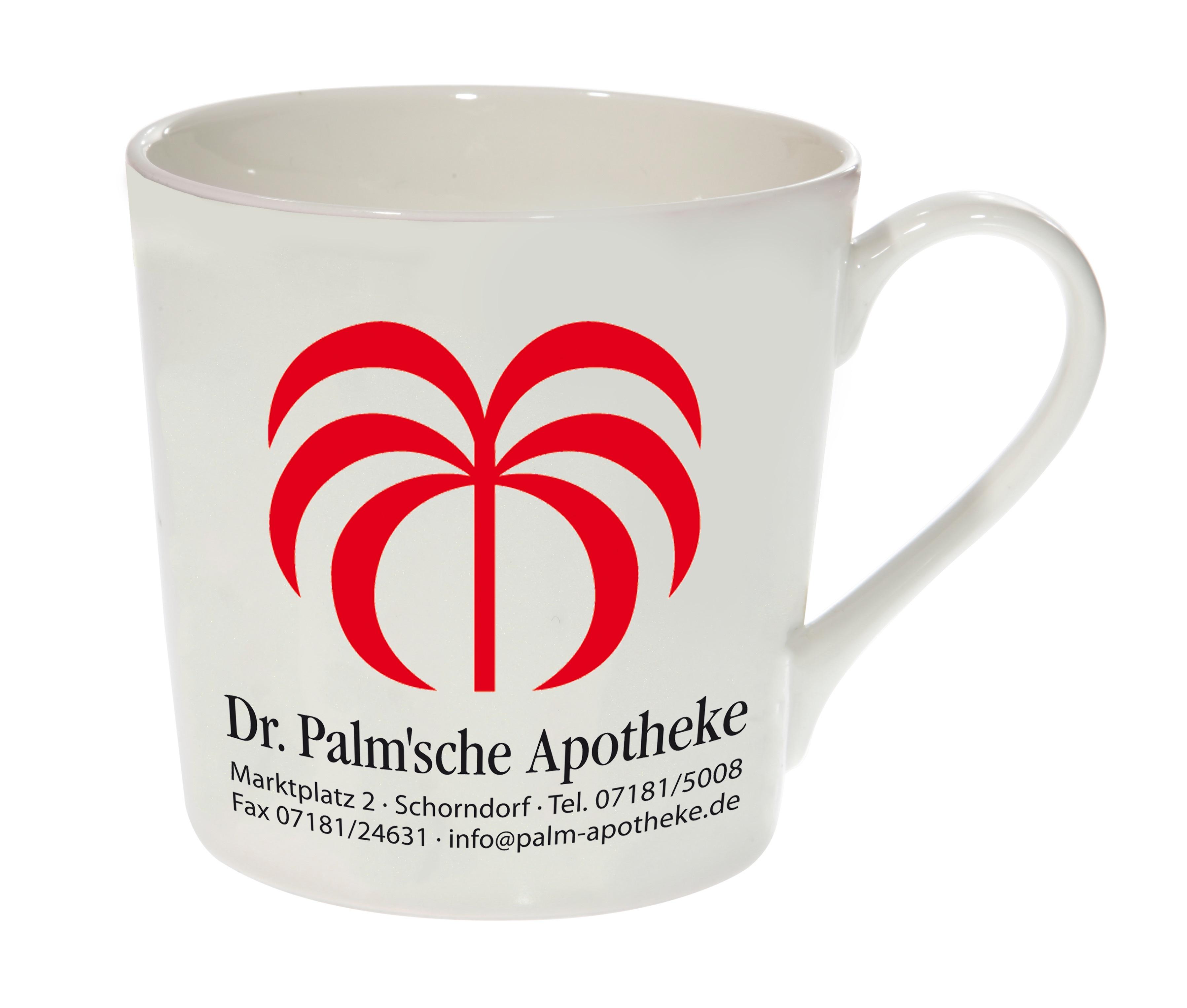 Tasse mit Logodruck aus Porzellan sehr fein verarbeitet, Höhe 90 mm, Durchmesser 95 mm, Inhalt 320 ml
